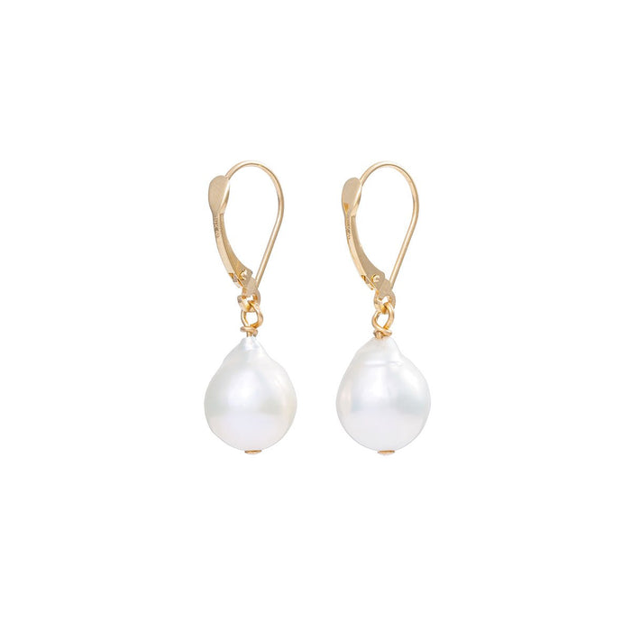 On-body shot of Solid Gold Teardrop Pearl Necklace & Earring Gift Set