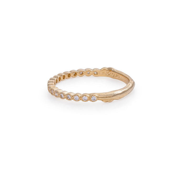 On-body shot of Solid Gold Edwardian Hawthorn Diamond Half Eternity Ring