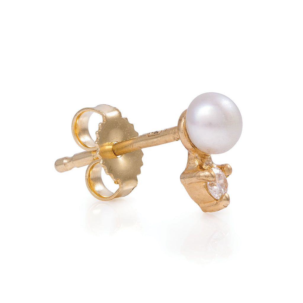 Chupi - Pearl and Diamond Stud Earrings - Forever and a Day