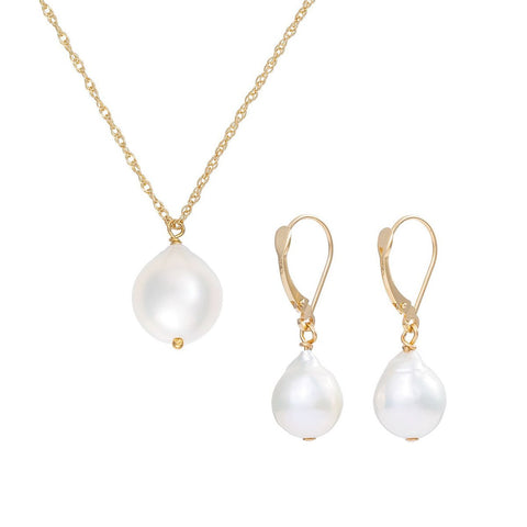Solid Gold Teardrop Pearl Necklace & Earring Gift Set