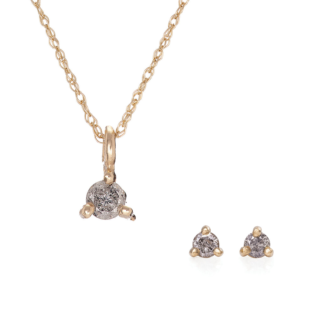 image-Solid Gold Hope And Magic Necklace & Tiny Earrings Grey Diamond Gift Set
