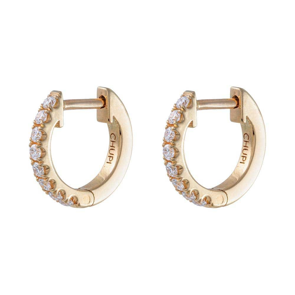Solid Gold Diamond Eternity Huggies Midi Hoop Earrings - Pair