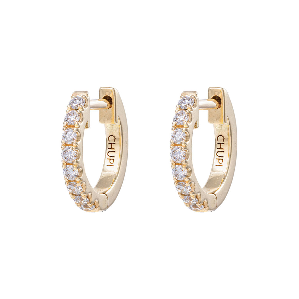 Chupi - Diamond Eternity Huggies Midi Hoop Earring - Pair - Solid Gold Earrings