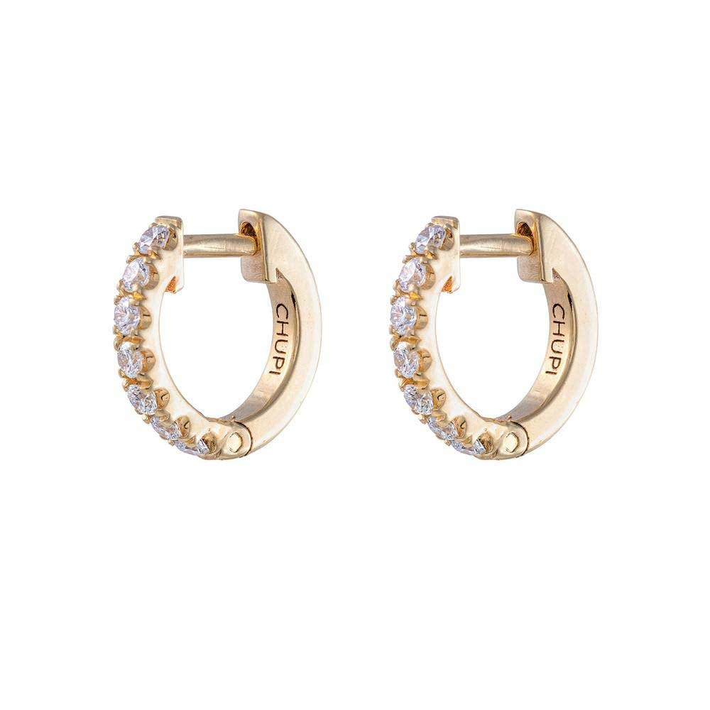 Chupi - Diamond Eternity Huggies Tiny Hoop Earring - Pair - Solid Gold Earrings
