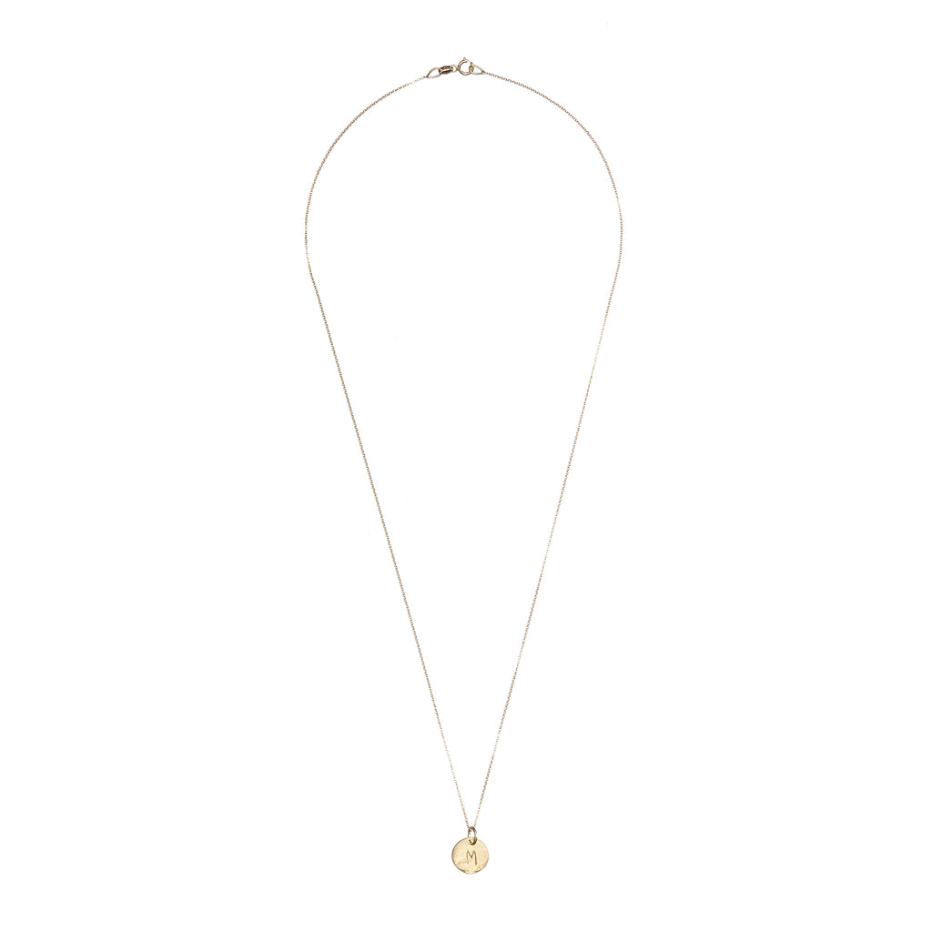 image-Solid Gold Initial Letter Midi Disc Necklace