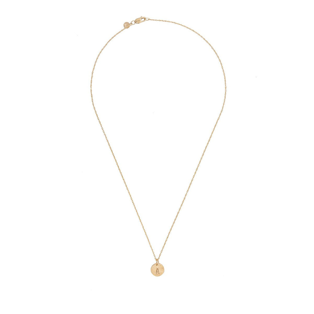 image-Solid Gold Initial Letter Tiny Disc Necklace