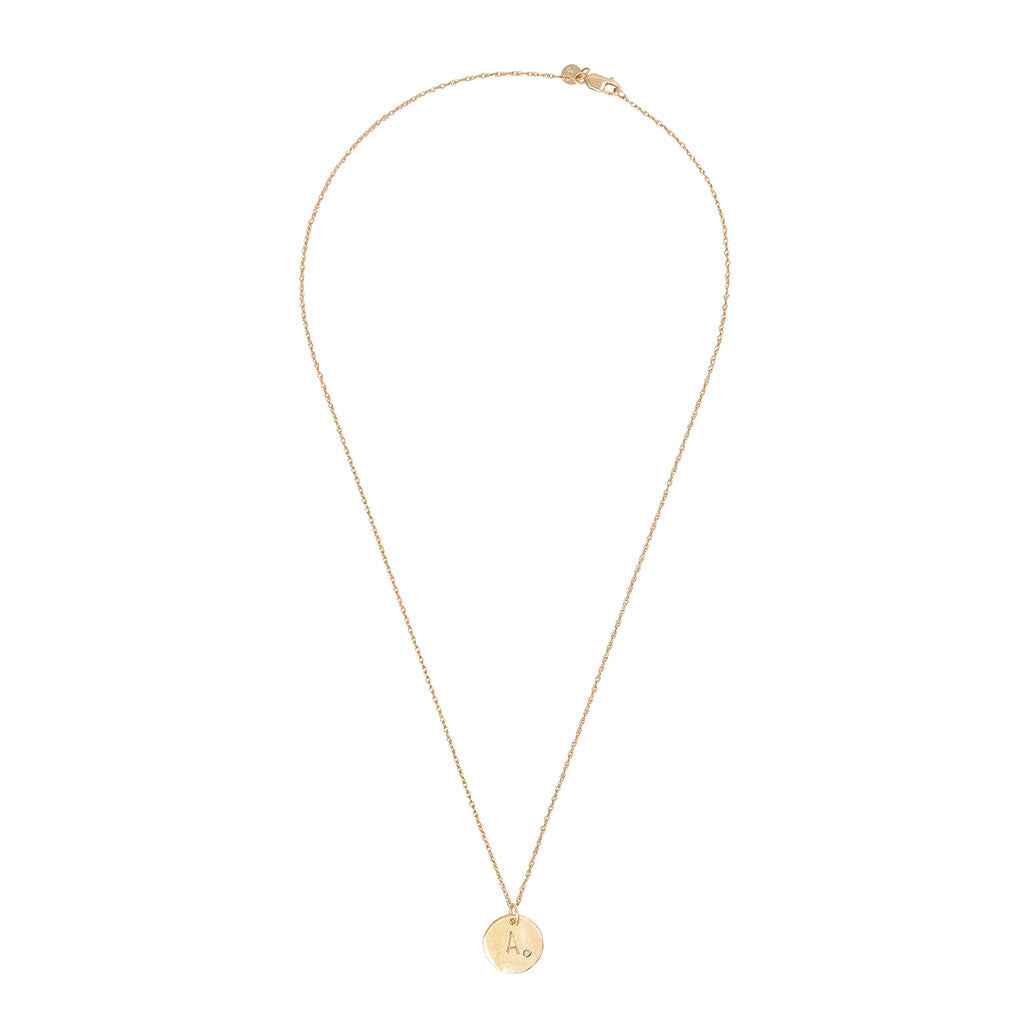 Solid Gold Initial Letter Maxi Diamond Disc Necklace - One Disc