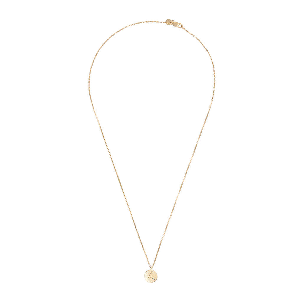 image-Solid Gold Initial Letter Tiny Diamond Disc Necklace