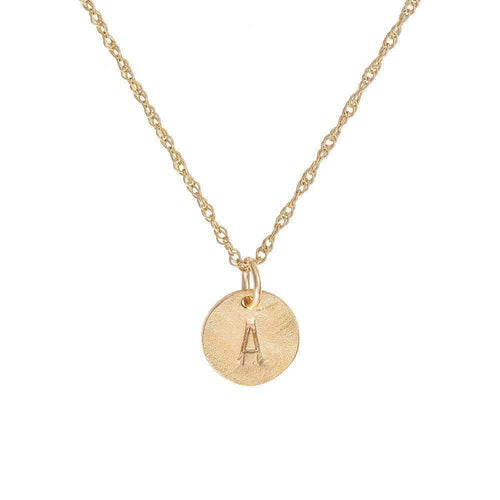 Solid Gold Initial Letter Tiny Disc Necklace