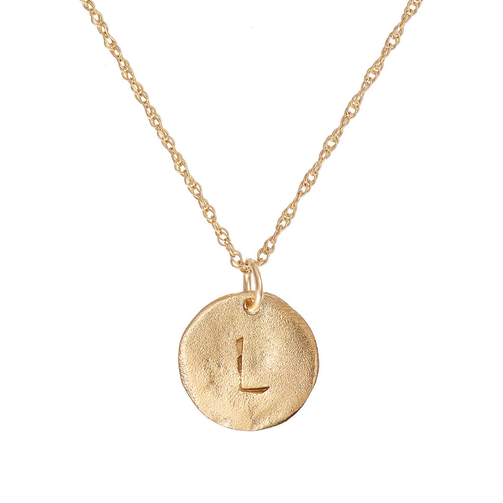 Solid Gold Initial Letter Maxi Disc Necklace - One Disc