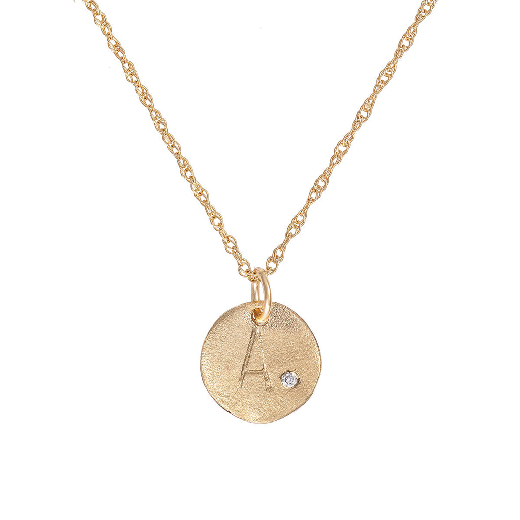 Solid Gold Initial Letter Midi Diamond Disc Necklace - One Disc