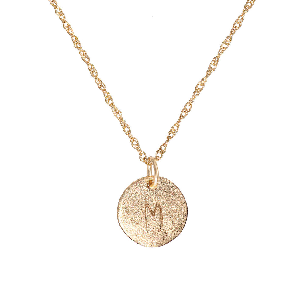 Solid Gold Initial Letter Midi Disc Necklace - One Disc