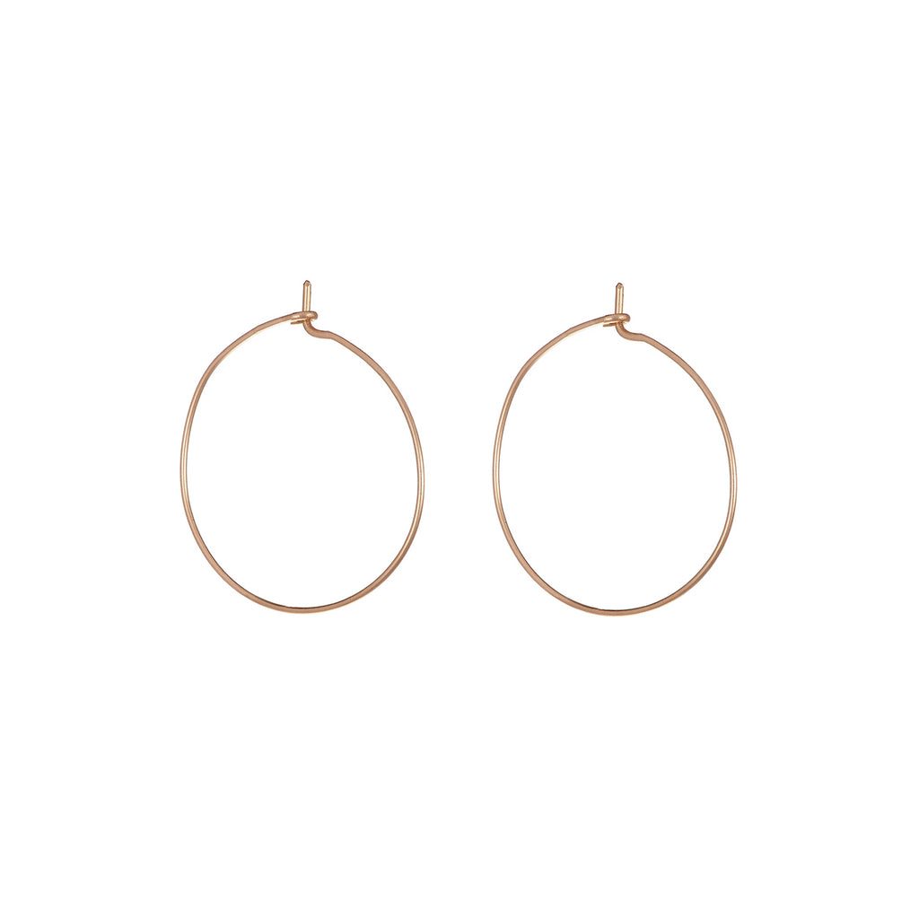 image-Solid Gold Circle Love, Luck And Laughter Midi Hoop Earrings