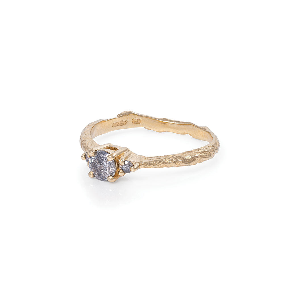 Solid Gold Love is All - Grey Diamond Ring