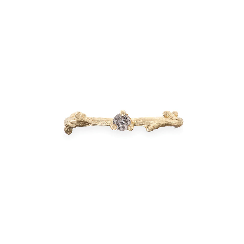Promise Me - 14k Gold Twig Band Grey Diamond Ring