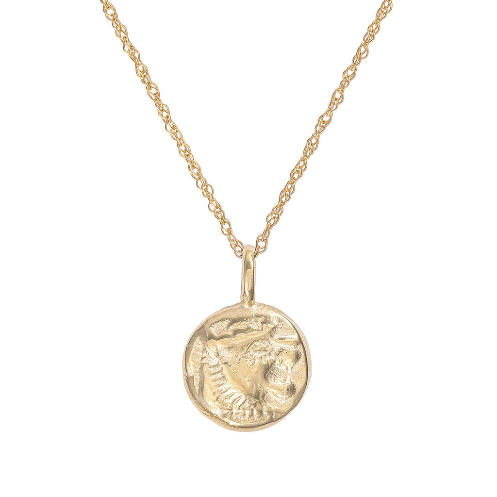 image-Solid Gold Little Lion Heart Coin Necklace