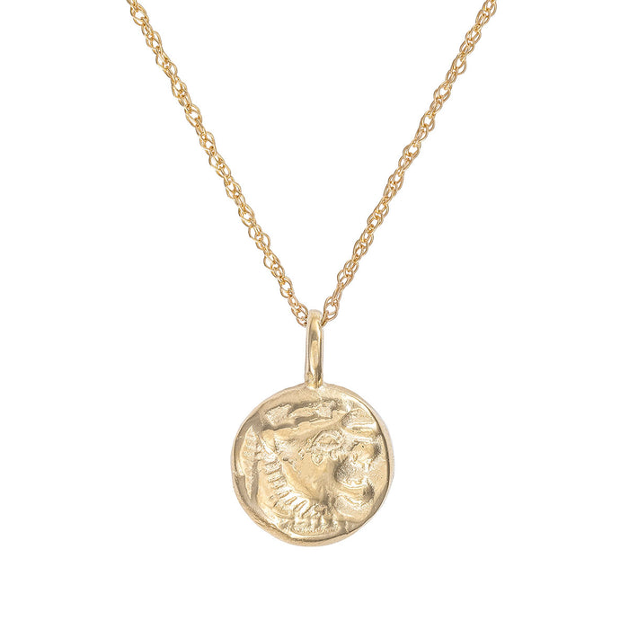 Chupi - Little Lion Heart Coin Necklace - Solid Gold