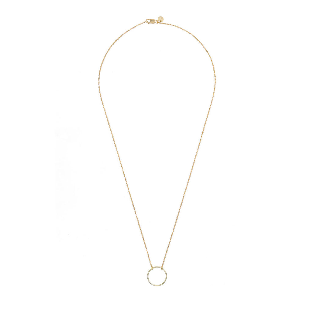 image-Solid Gold Circle Love Necklace
