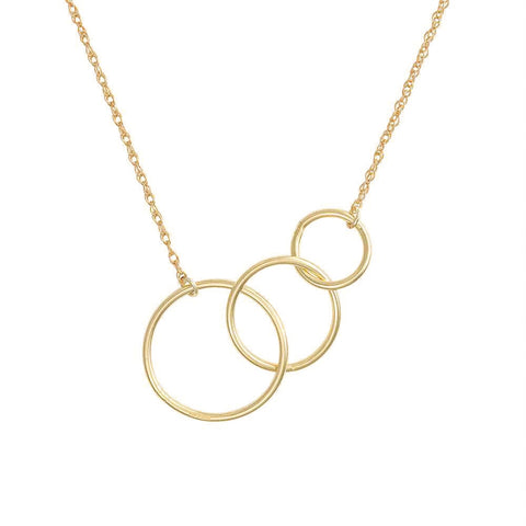 Solid Gold Circle Love, Luck And Laughter Necklace