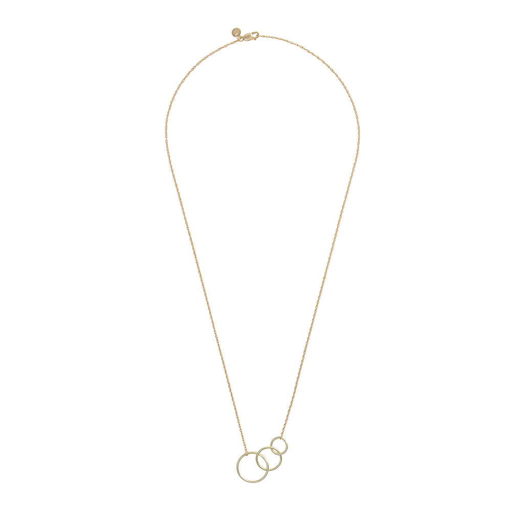 image-Solid Gold Circle Love, Luck And Laughter Necklace