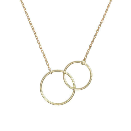 Solid Gold Circle Love And Luck Necklace