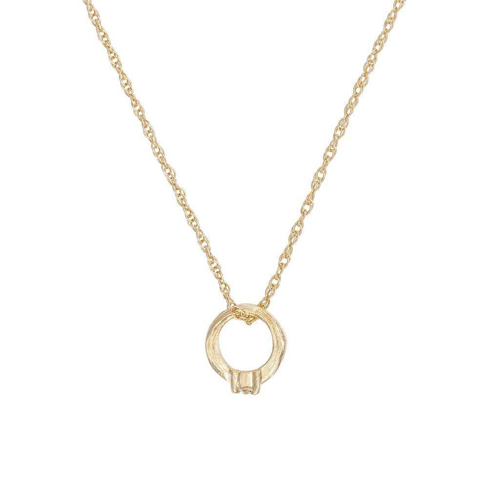 Solid Gold Promise Ring Necklace