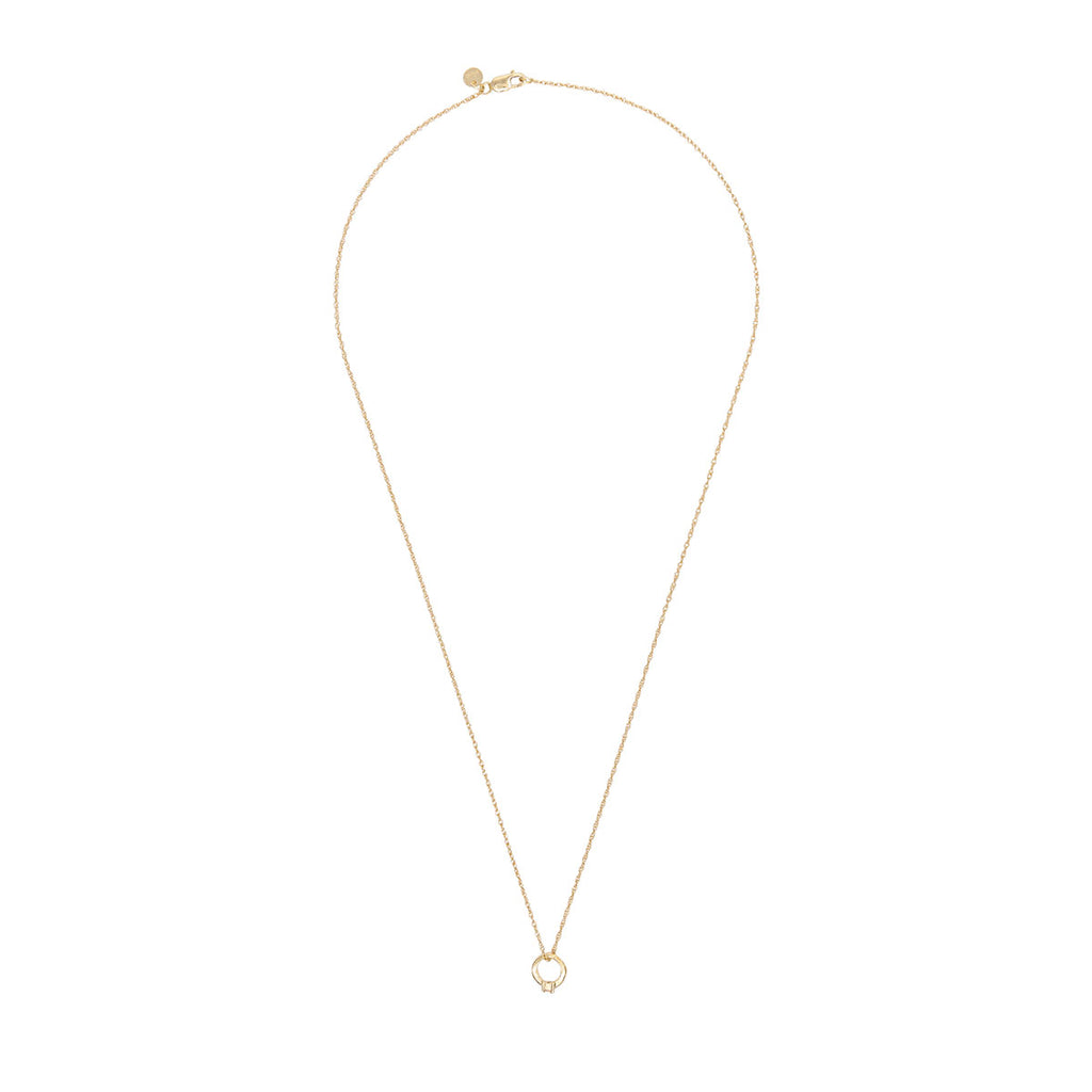 image-Solid Gold Promise Ring Necklace
