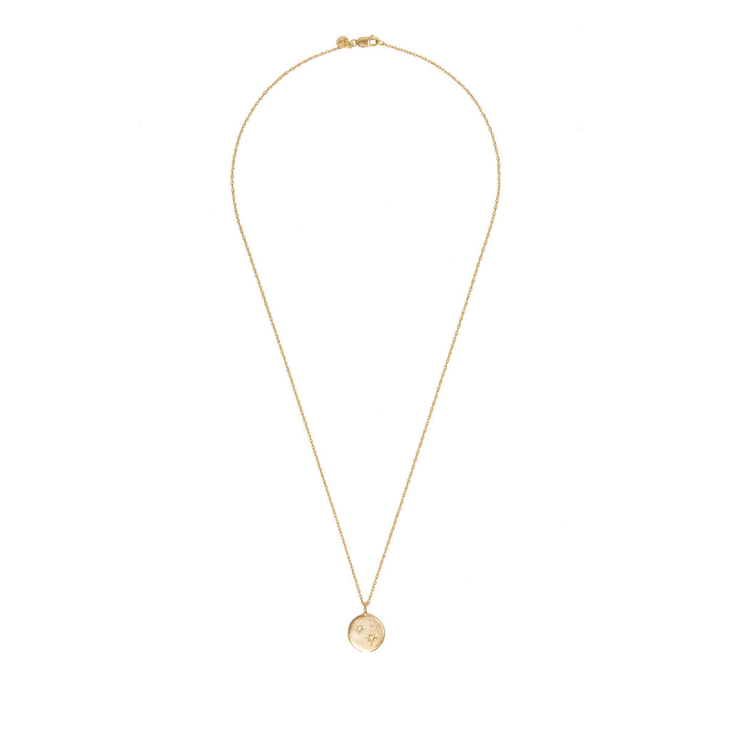 image-Solid Gold Stars in the Sky Disc Two Diamond Necklace