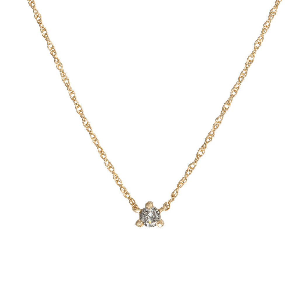 image-Solid Gold Stars in the Sky Midi Grey Diamond Necklace