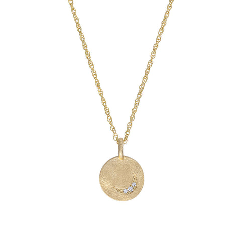 Solid Gold Sun Moon & Stars Disc Necklace