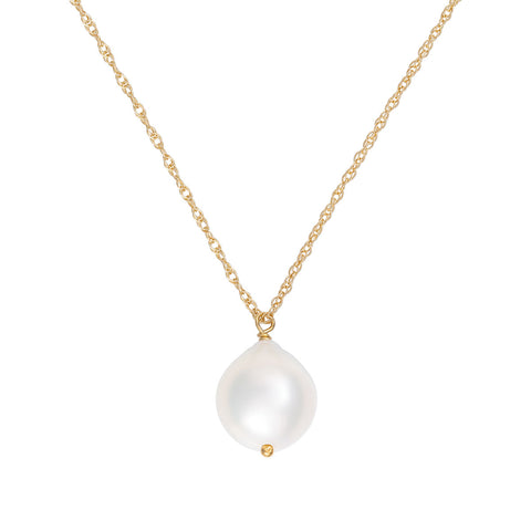 Chupi - Pearl Drop Necklace - Solid Gold Teardrop Chain