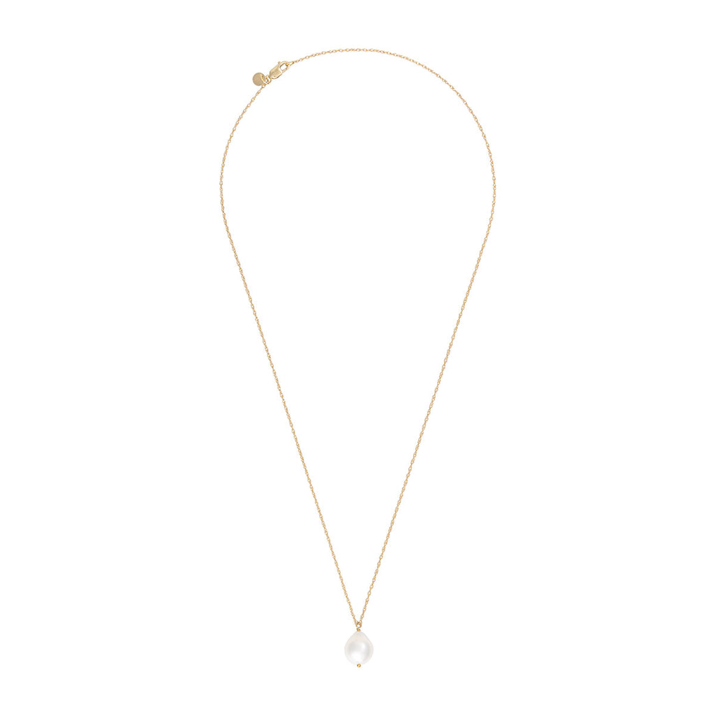 image-Solid Gold Teardrop Pearl Necklace