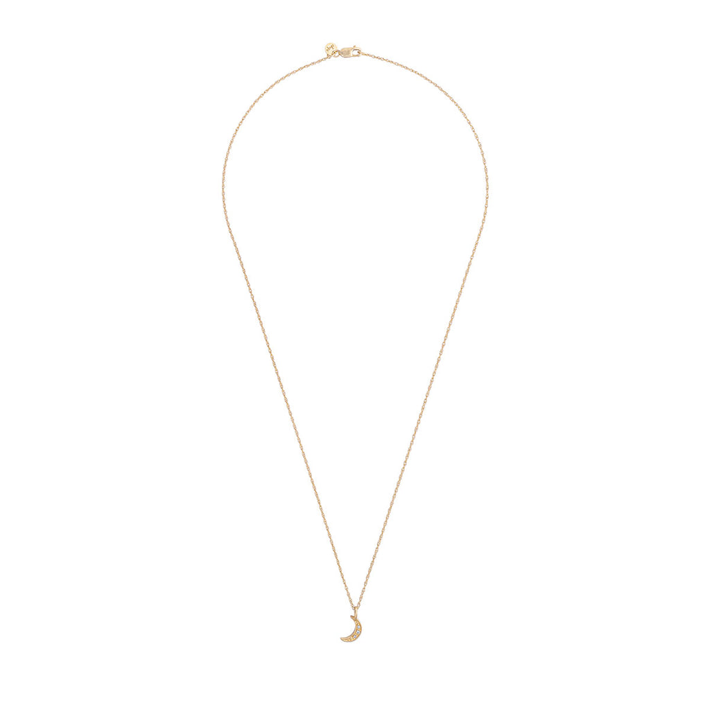 image-Solid Gold To The Moon And Back Necklace Classic Diamond