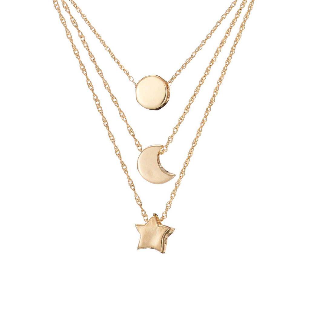 Solid Gold You Are My Sun, My Moon & All of My Stars Necklace Set