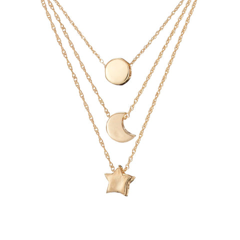 Chupi - Stacking Necklace Gift Set - Solid Gold You Are My Sun Moon and Stars