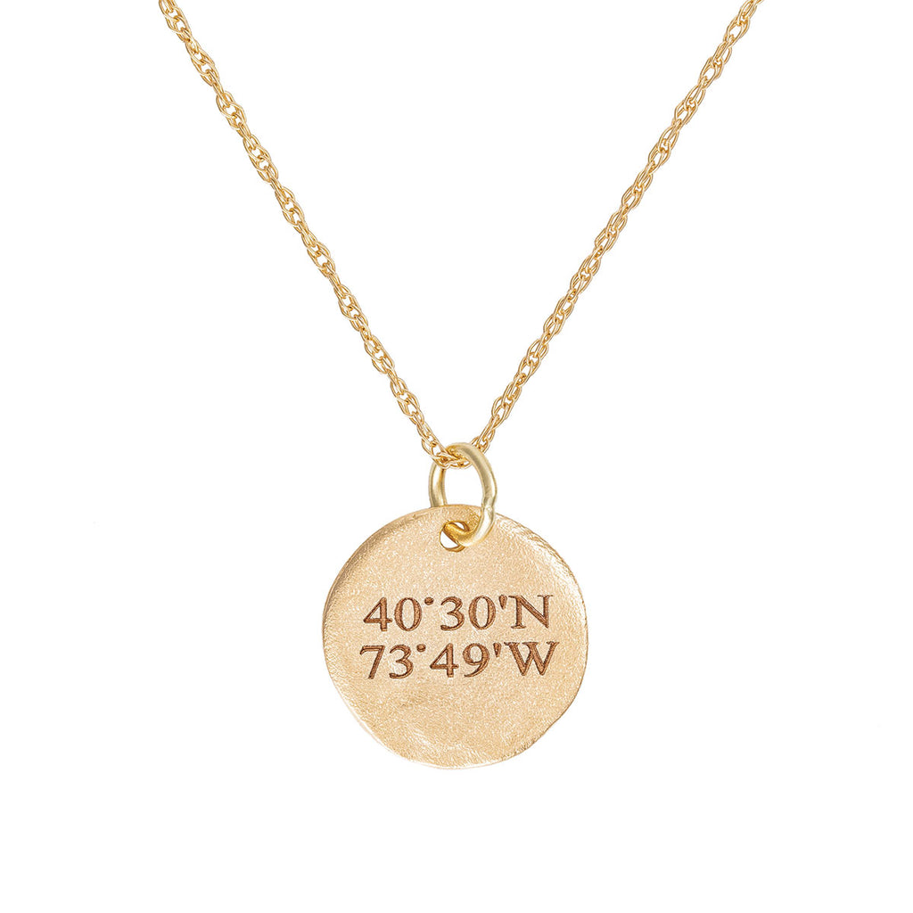 image-Chupi - Coordinates Disc Necklace - Maxi - Solid Gold - Not All Those Who Wander Are Lost