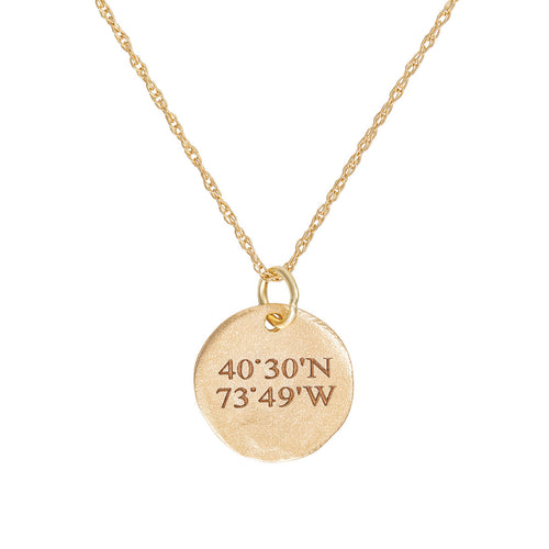 Solid Gold Not All Who Wander Are Lost Maxi Coordinates Necklace