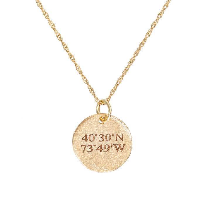 Chupi - Coordinates Disc Necklace - Maxi - Solid Gold - Not All Those Who Wander Are Lost
