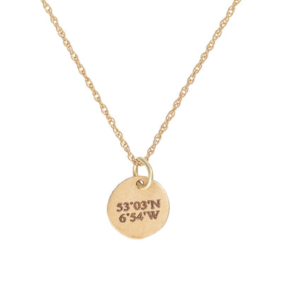 Chupi - Coordinates Disc Necklace - Midi - Solid Gold - Not All Those Who Wander Are Lost