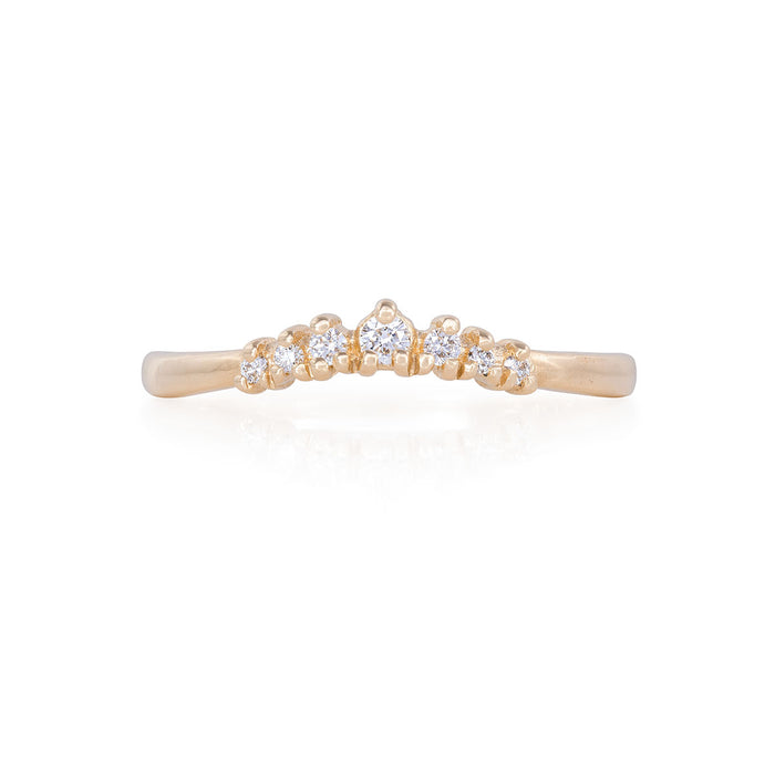 Solid Gold Crown of Faith - Classic Diamond Polished Band Ring