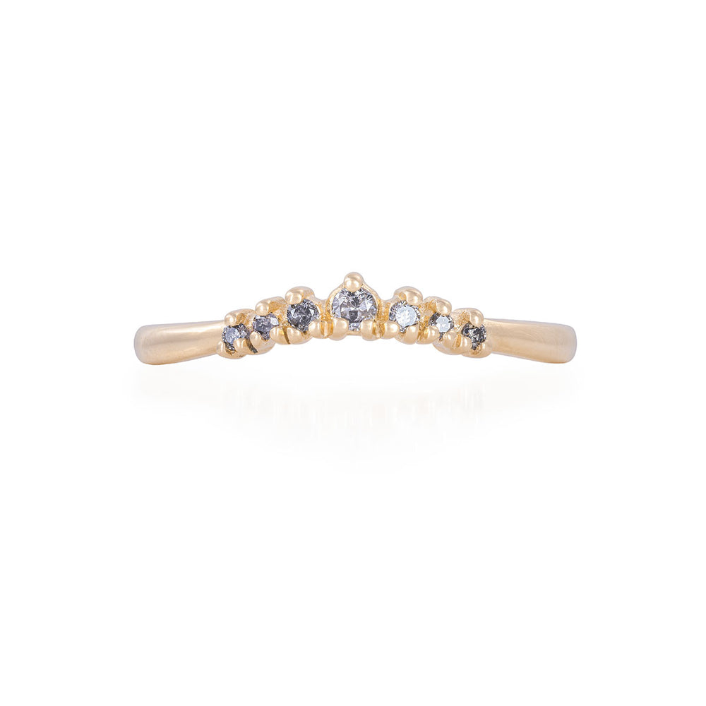 Solid Gold Crown of Faith - Grey Diamond Polished Band Ring