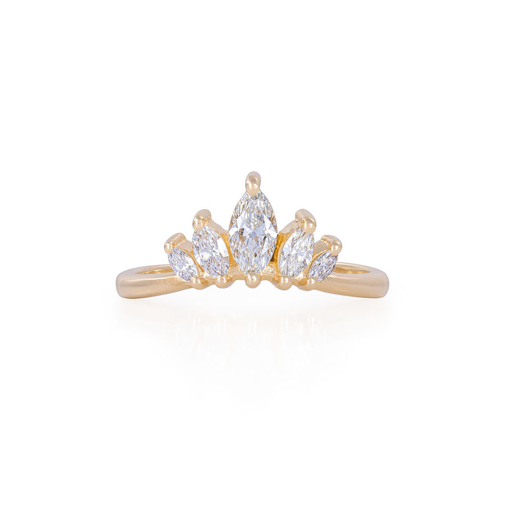 Solid Gold Crown of Hope Marquise Polished Band Ring - Classic Diamond