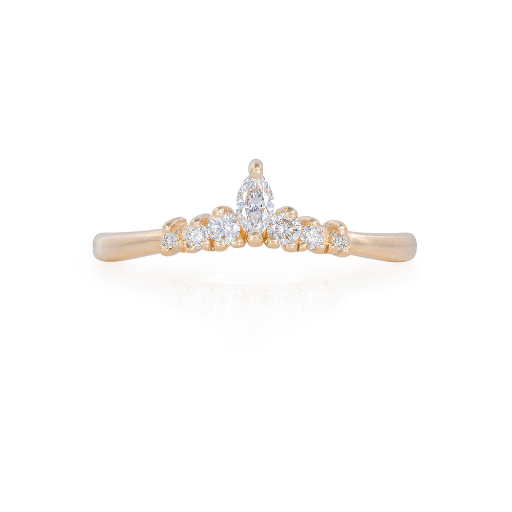 Solid Gold Crown of Luck Marquise - Classic Diamond Polished Band Ring