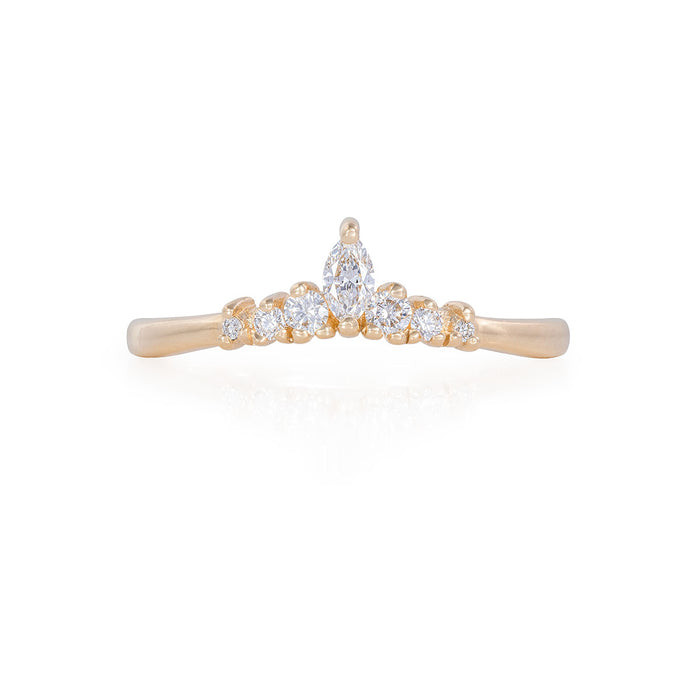 Crown of Luck - 14k Polished Gold Marquise Diamond Ring