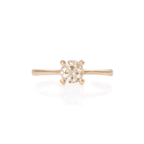 Solid Gold Darling in the Wild - Champagne Diamond Polished Band Ring