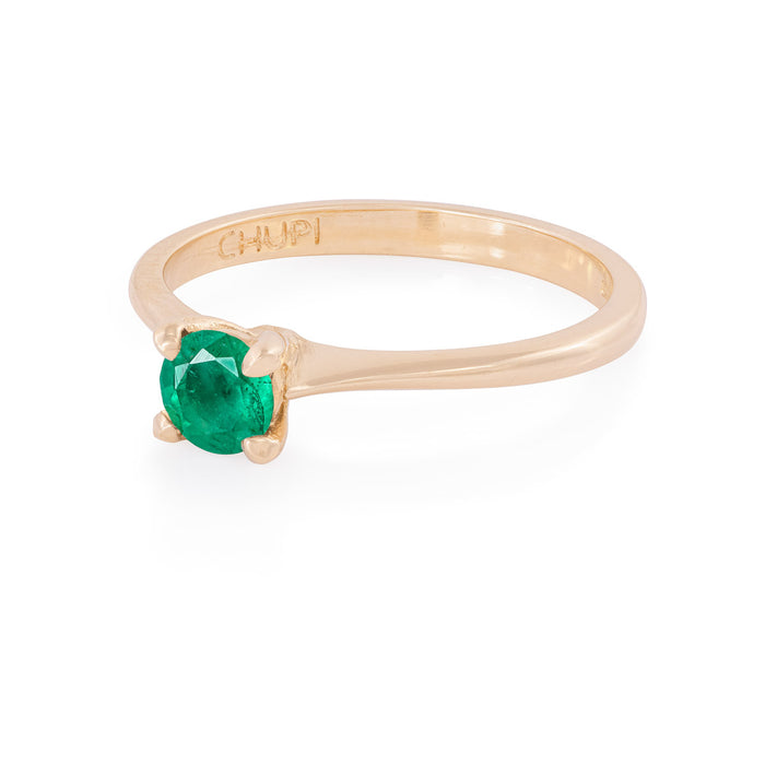 On-body shot of Darling in the Wild - 14k Polished Gold Emerald Ring