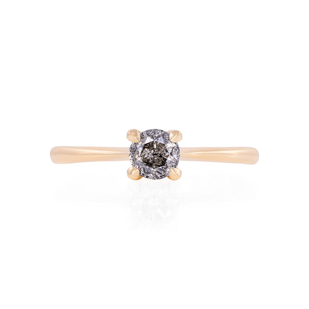 image-Solid Gold Darling in the Wild - Grey Diamond Polished Band Ring