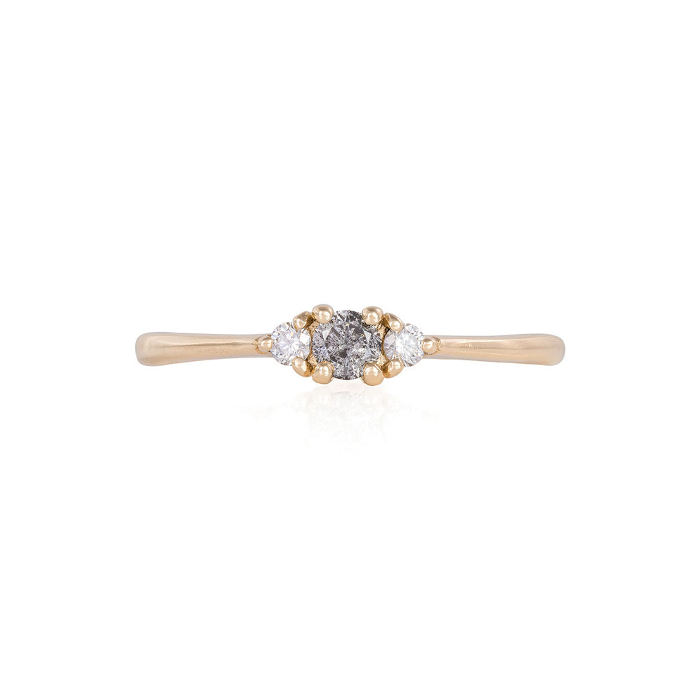 Dreamers of Dreams - 14k Polished Gold Grey Diamond Ring