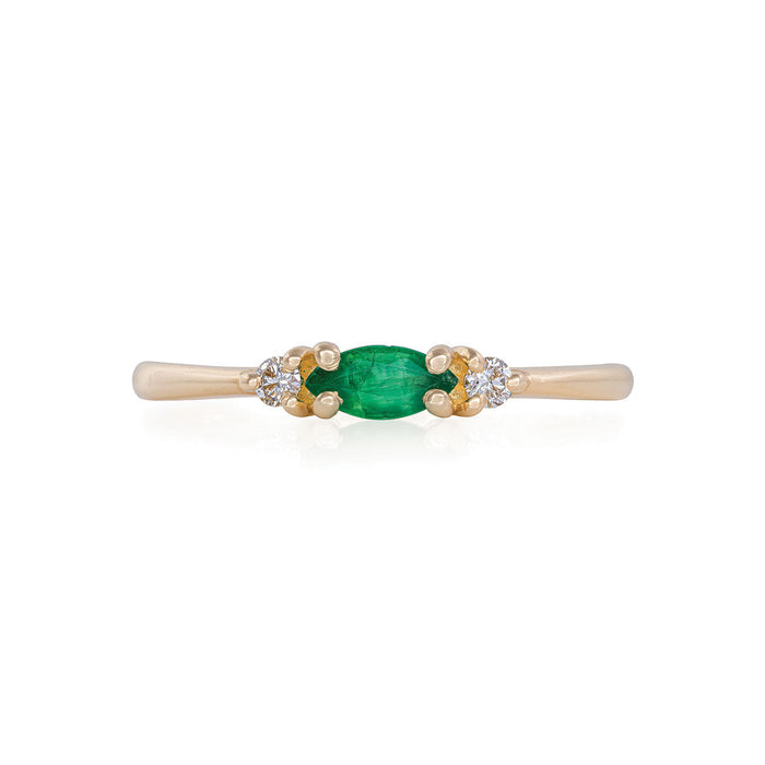 Solid Gold Evil Eye Marquise - Emerald & Classic Diamond Polished Band Ring