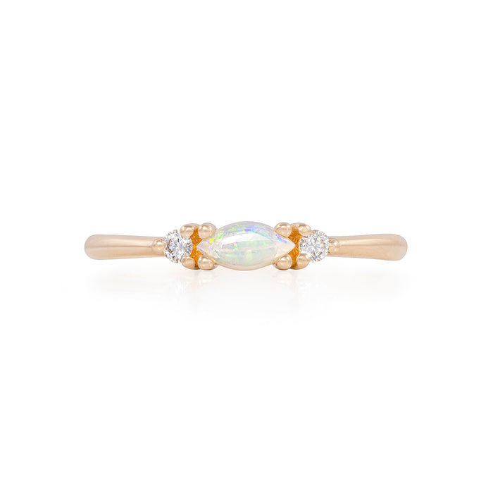 Solid Gold Evil Eye Marquise - Opal & Classic Diamond Polished Band Ring